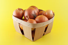 Onions in a box. Royalty Free Stock Image