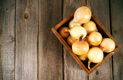 Onions in a box Royalty Free Stock Images