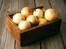 Onions in a box Royalty Free Stock Photography