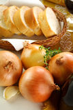Onions And bread royalty free stock image