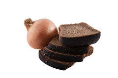 Onions and bread. Very ancient combination of food Royalty Free Stock Photography