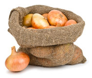 Onions in burlap sack Stock Photos