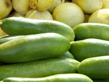 Onions & Cukes. Freshly picked organic cucumbers and onions at a farmers market stock images
