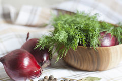Onions and dill. A red oblong onions and green fennel in a wooden bowl stock image