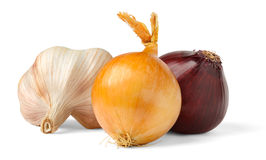 Onions and garlic. Over white background stock photos