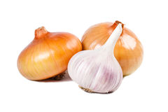 Onions & garlic. On the white background stock photos