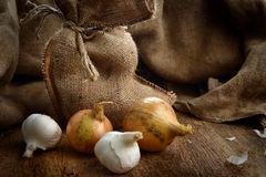 Onions and garlic Royalty Free Stock Images