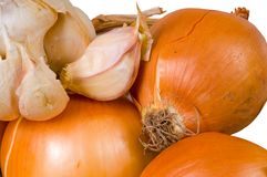 Onions and garlic. Stock Images