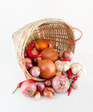 Onions, Garlic And Chilies Stock Photos