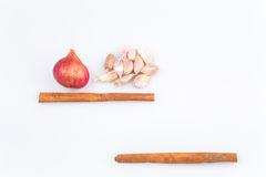 Onions and garlic background on white background Royalty Free Stock Image