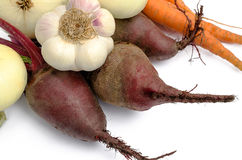 Onions garlic beet and carrots Royalty Free Stock Images