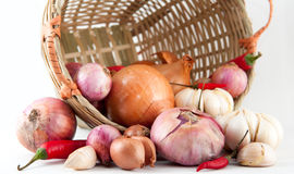 Onions, Garlic and Chilies Royalty Free Stock Photos
