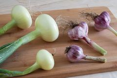Onions and garlic close-up lie on the table on a wooden cutting board, autumn harvest stock photography