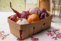 Onions and Garlic in a Crate Stock Images