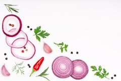 Onions, garlic, hot pepper and spices isolated on white background. Top view.  Stock Photos