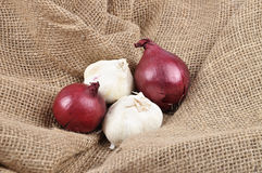 Onions and garlic on jute Stock Photography