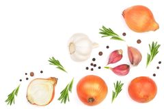 Onions, garlic with rosemary and peppercorns isolated on a white background with copy space for your text. Top view Royalty Free Stock Image