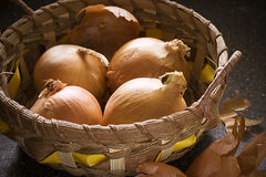 Onions In A Basket Stock Image