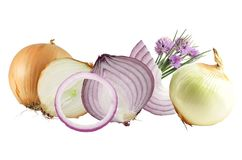 Onions isolated on white. Background Stock Photo