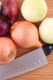 Onions and knife. On kitchen board Royalty Free Stock Photo