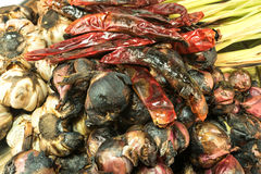 Onions,lemon grass,chilli,galangal,garlic brun mix for pork soup Stock Photos