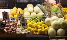 Onions Lemons Melons Limes Food Displayed at Farmers Market Stock Photos