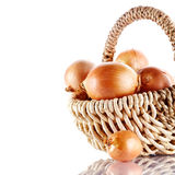 Onions napiform in a wattled basket Stock Photo