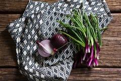 Onions on napkin. Overhead of onions on napkin Stock Image