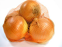 Onions in net. A bulk of fresh big onions in a net. Image on white background Stock Photos