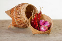 Onions and peppers to the repository. Royalty Free Stock Photos