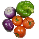 Onions, peppers and tomato. Onion, pepper and tomato isolated on white background Royalty Free Stock Images
