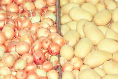 Onions and potatoes, vintage style. Royalty Free Stock Photos