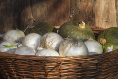 Onions and pumpkins in the basket Royalty Free Stock Photos