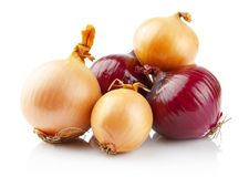 Onions and red onions on white royalty free stock photo