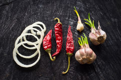 Onions, red pepper and garlic on a dark table Royalty Free Stock Photos