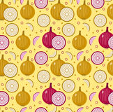 Onions seamless pattern. Bulb onion endless background, texture. Vegetable background. Vector illustration. Royalty Free Stock Photo