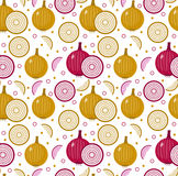 Onions seamless pattern. Bulb onion endless background, texture. Vegetable . Royalty Free Stock Photos