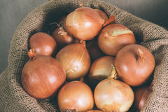 Onions. Some onions in an old sack Stock Photo