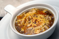 Onions soup with fua-gra and cheese Stock Photo
