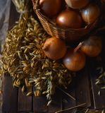 Onions close up on the table stock images
