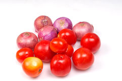 Onions and tomatoes Royalty Free Stock Image
