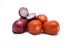 Onions and tomatos Royalty Free Stock Photo