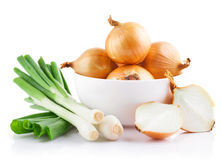 onions vegetables in white plate with cut Stock Photos