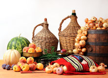 Onions, watermelon fruits and scales Royalty Free Stock Image