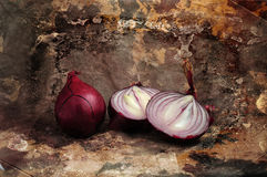Onions. These onions will not make you cry!  On the wall in a kitchen or restaurant they will just be awesome Royalty Free Stock Image