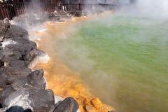 Oniyama Jigoku旅游胜地的鳄鱼地狱代表各种各样的地狱的一在别府,大分,日本 库存照片