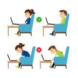 Onjuiste en Correcte laptop gebruikspositie stock illustratie