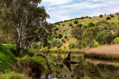 Onkaparinga River on a sunny day with reflections of trees and c. Liffs at old Noarlunga south australia on 23rd August 2018 royalty free stock photo