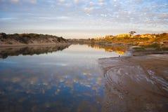 Onkaparingarivier bij Zonsondergang, Zuid-Australië Royalty-vrije Stock Afbeeldingen