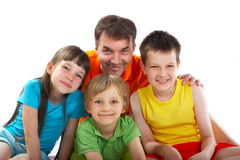 Onkel mit Neffeen und Nichte Stockfotos